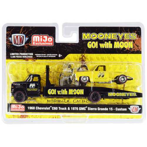 """1968 Chevrolet C60 Ramp Truck Black and 1976 GMC Sierra Grande 15 Custom Yellow """"Mooneyes"""" Limited Edition to 5500 pieces Worldwide 1/64 Diecast Models by M2 Machines"""