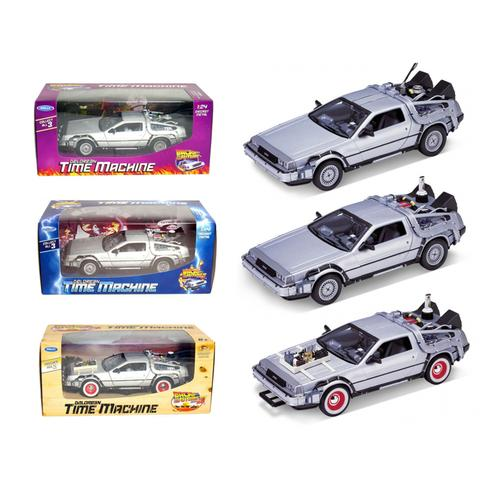 """Collect All 3pc Set Delorean Time Machine Trilogy Set """"Back To The Future 1,2,3"""" 1/24 by Welly"""