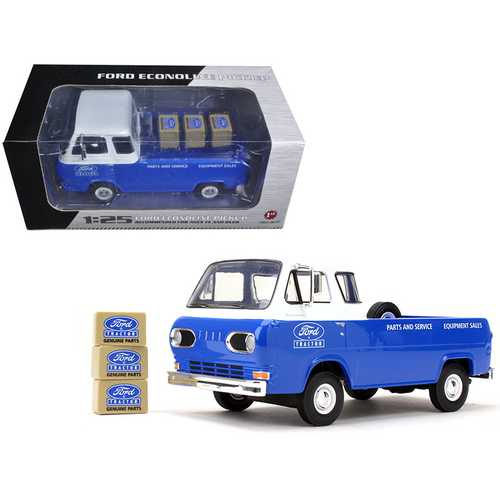 1960's Ford Econoline Pickup Blue with Boxes Ford Tractor Parts & Service 1/25 Diecast Model Car by First Gear