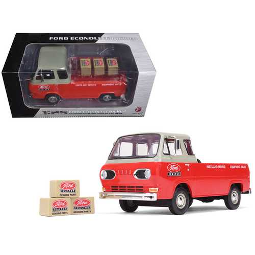 1960\'s Ford Econoline Pickup Red with Boxes Ford Tractor Parts & Service 1/25 Diecast Model Car by First Gear