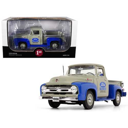 """1956 Ford F-100 Pickup Truck High Feature """"Ford Tractor Equipment Sales"""" Gray and Blue 1/25 Diecast Model Car by First Gear"""