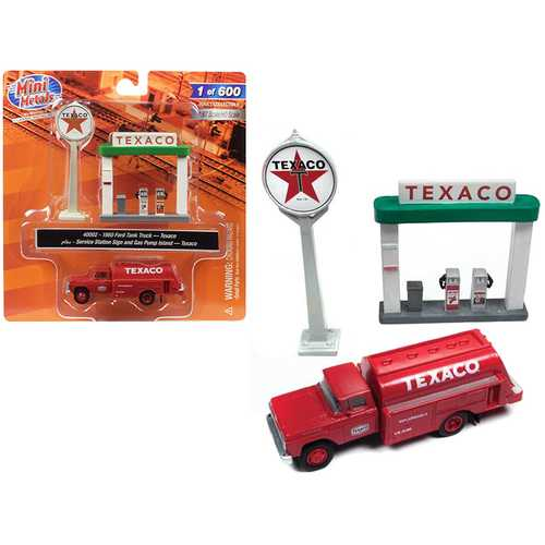 """1960 Ford Tank Truck Red with Service Gas Station """"Texaco"""" 1/87 (HO) Scale Model by Classic Metal Works"""