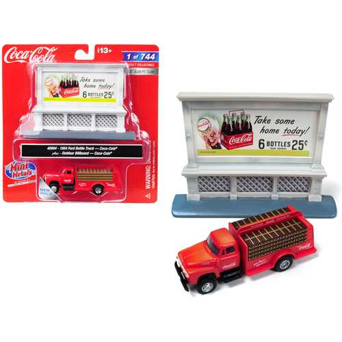 "1954 Ford Bottle Truck Red ""Coca-Cola"" with Outdoor Billboard ""Coca-Cola"" 1/87 (HO) Scale Model by Classic Metal Works"
