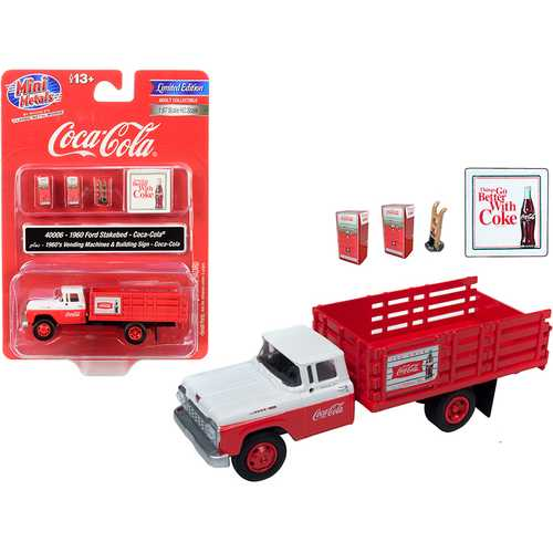 "1960 Ford Stake Bed Truck ""Coca-Cola"" Red and White with Two 1960's Vending Machines and Hand Truck and Building Sign ""Coca-Cola"" 1/87 (HO) Scale Model by Classic Metal Works"