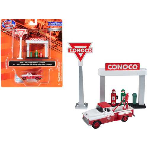 """1955 Chevrolet Tow Truck White and Red with 1950's Service Station Sign and Gas Pump Island """"Conoco"""" 1/87 (HO) Scale Model by Classic Metal Works"""