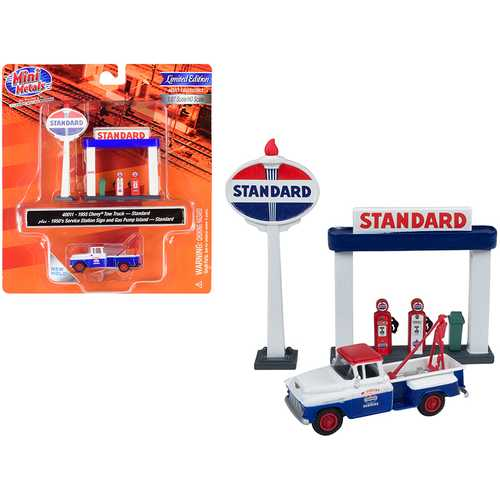 """1955 Chevrolet Tow Truck Blue and Orange with 1950's Service Station Sign and Gas Pump Island """"Standard Oil"""" 1/87 (HO) Scale Model by Classic Metal Works"""