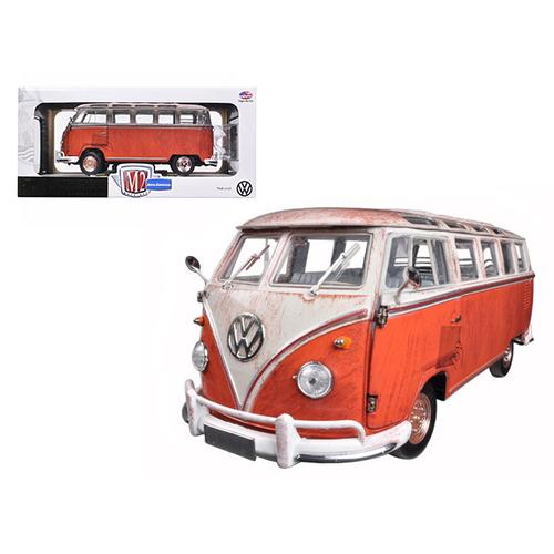 1960 Volkswagen Microbus Deluxe USA Model Red Rusted Verion 1/24 Diecast Model by M2 Machines