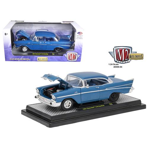"1957 Chevrolet 210 Hardtop ""Sleeper""- Hot Rod/Drag Car Harbor Blue Metallic 1/24 Diecast Model Car by M2 Machines"