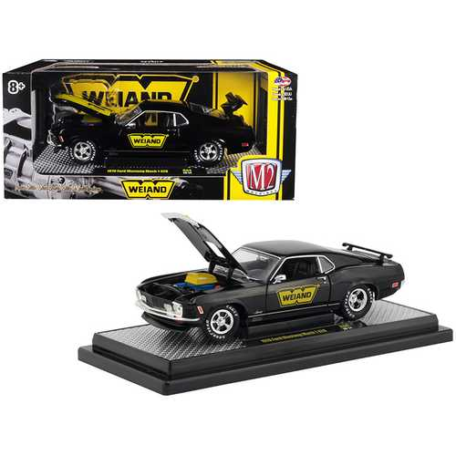 "1970 Ford Mustang Mach 1 428 ""Weiand"" Gloss Black with Yellow Stripe ""Detroit Muscle"" Limited Edition to 5,800 pieces Worldwide 1/24 Diecast Model Car by M2 Machines"