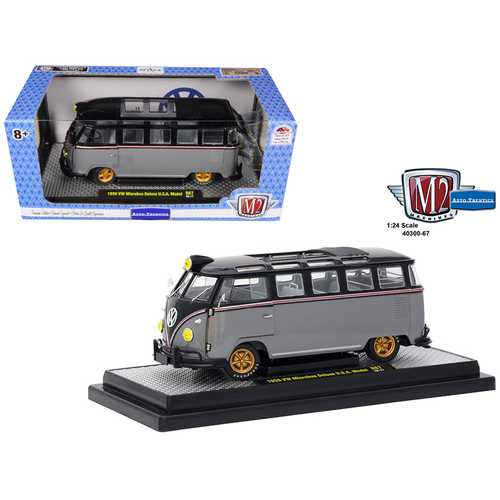 1959 Volkswagen Microbus Deluxe U.S.A. Model Gray Metallic with Gloss Black Top Limited Edition to 5,800 pieces Worldwide 1/24 Diecast Model by M2 Machines