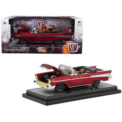 "1957 Chevrolet Bel Air Convertible Satin Red ""Auto-Mods"" Limited Edition to 5,880 pieces Worldwide 1/24 Diecast Model Car by M2 Machines"