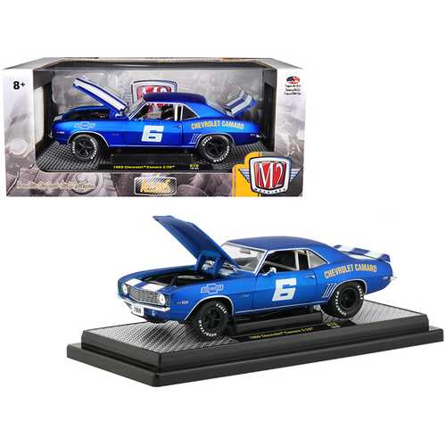 """1969 Chevrolet Camaro Z/28 #6 Satin Royal Blue with Bright White Stripes """"Auto-Mods"""" Limited Edition to 5,880 pieces Worldwide 1/24 Diecast Model Car by M2 Machines"""