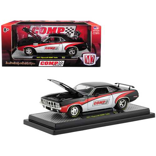 "1971 Plymouth HEMI Barracuda ""Comp Cams"" Black with White and Red Limited Edition to 5,880 pieces Worldwide 1/24 Diecast Model Car by M2 Machines"