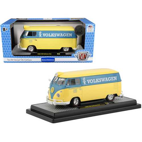 "1960 Volkswagen Delivery Van Yukon Yellow Dove with Blue Stripe ""Volkswagenwerk GMBH"" Limited Edition to 5880 pieces Worldwide 1/24 Diecast Model by M2 Machines"