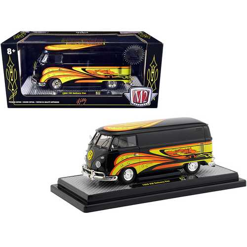 "1960 Volkswagen Delivery Van Black Pearl ""Kelly Crazy Painter"""" Limited Edition to 6880 pieces Worldwide 1/24 Diecast Model by M2 Machines"