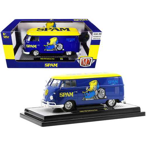 """1960 Volkswagen Delivery Van """"Spam"""" Blue with Yellow Top Limited Edition to 6500 pieces Worldwide 1/24 Diecast Model by M2 Machines"""