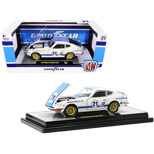 """1970 Nissan Fairlady Z432 #21 """"Goodyear"""" White with Blue Stripes Limited Edition to 6500 pieces Worldwide 1/24 Diecast Model Car by M2 Machines"""