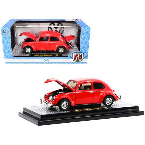 1952 Volkswagen Beetle Deluxe Bright Red Limited Edition to 6500 pieces Worldwide 1/24 Diecast Model Car by M2 Machines