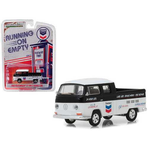 """1968 Volkswagen T2 Type 2 Double Cab """"Standard Oil Change & Service"""" Black and White """"Running on Empty"""" Series 6 1/64 Diecast Model Car by Greenlight"""