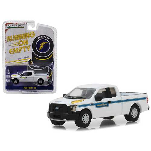 """2016 Ford F-150 Pickup Truck """"Goodyear Tire & Service"""" White with Blue Stripes """"Running on Empty"""" Series 6 1/64 Diecast Model Car by Greenlight"""