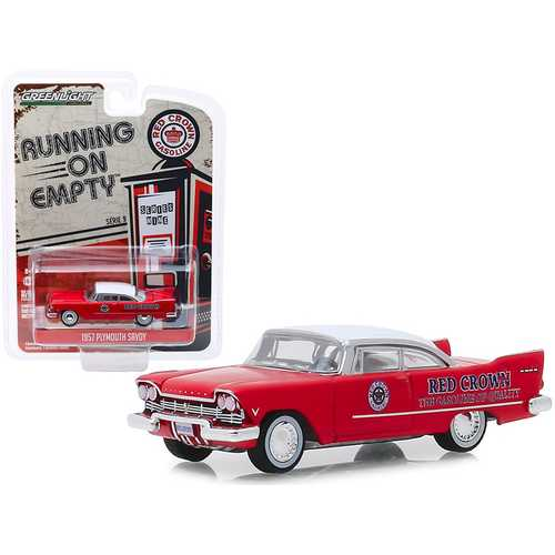 "1957 Plymouth Savoy Red with White Top ""Red Crown"" ""Running on Empty"" Series 9 1/64 Diecast Model Car by Greenlight"