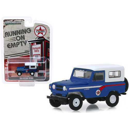 "1964 Nissan Patrol Blue with White Top ""Caltex"" ""Running on Empty"" Series 9 1/64 Diecast Model Car by Greenlight"