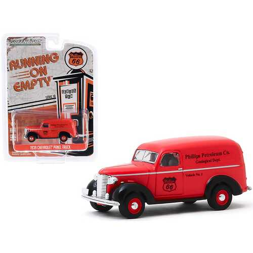 """1939 Chevrolet Panel Truck """"Phillips 66"""" """"Phillips Petroleum Co. Geological Dept""""  """"Running on Empty"""" Series 10 1/64 Diecast Model Car by Greenlight"""