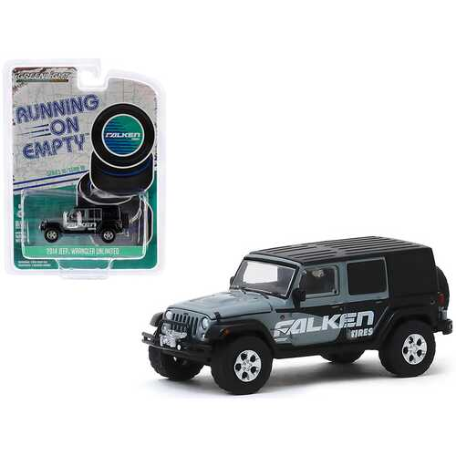 """2014 Jeep Wrangler Unlimited Gray and Black """"Falken Tires"""" """"Running on Empty"""" Series 10 1/64 Diecast Model Car by Greenlight"""