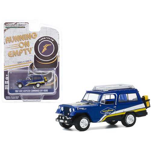 """1967 Jeep Jeepster Commando Off-Road with Roof Rack Blue with Stripes """"Goodyear Racing"""" """"Running on Empty"""" Series 11 1/64 Diecast Model Car by Greenlight"""