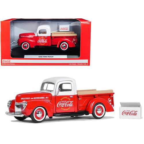 "1940 Ford Pickup Truck ""Coca-Cola"" Red and White with ""Coca-Cola"" Cooler Accessory 1/24 Diecast Model Car by Motorcity Classics"