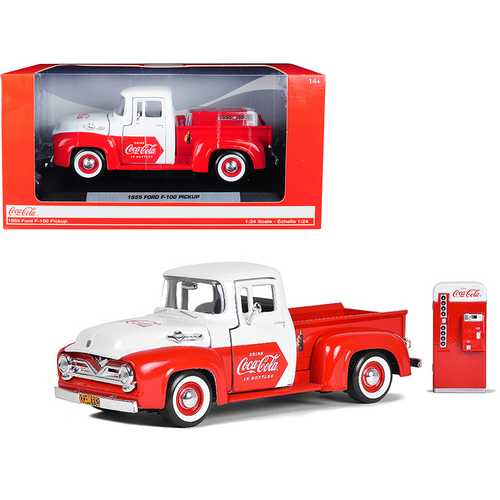 "1955 Ford F-100 Pickup Truck Red and White with Vending Machine Accessory ""Coca-Cola"" 1/24 Diecast Model Car by Motorcity Classics"