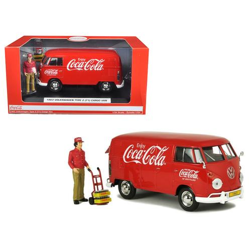 """1963 Volkswagen Type 2 (T1) """"Coca-Cola"""" Cargo Van with Delivery Driver Figurine, Handcart and Two Bottle Cases 1/24 Diecast Model Car by Motorcity Classics"""