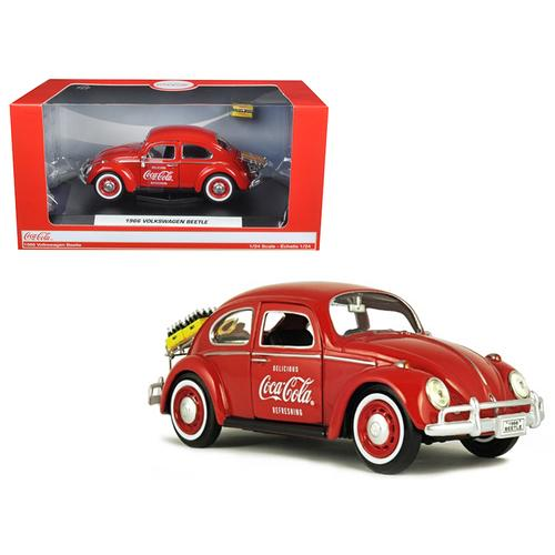 """1966 Volkswagen Beetle """"Coca Cola"""" with Rear Decklid Rack and 2 Bottle Cases 1/24 Diecast Model Car by Motorcity Classics"""