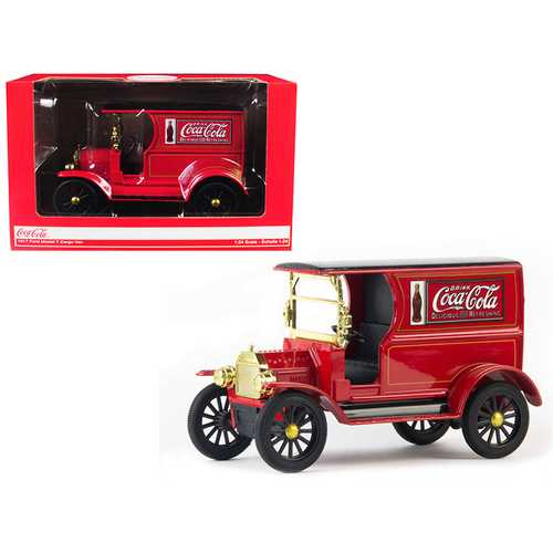 "1917 Ford Model T Cargo Van ""Coca-Cola"" Red with Black Top 1/24 Diecast Model Car by Motorcity Classics"