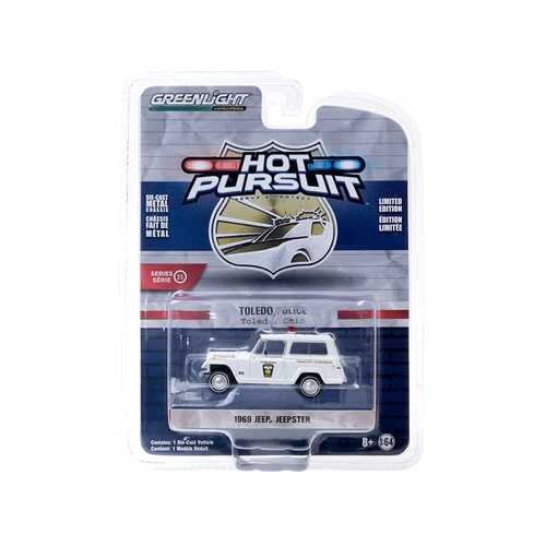 """1969 Jeep Jeepster """"Traffic Control"""" """"Toledo Police"""" (Ohio) White """"Hot Pursuit"""" Series 35 1/64 Diecast Model Car by Greenlight"""