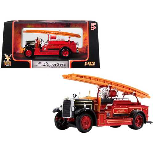 1934 Leyland FK-1 Fire Engine Red and Black 1/43 Diecast Model by Road Signature