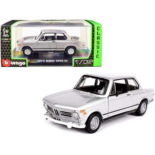 "1972 BMW 2002 tii Silver Metallic ""Classic"" Series 1/32 Diecast Model Car by Bburago"