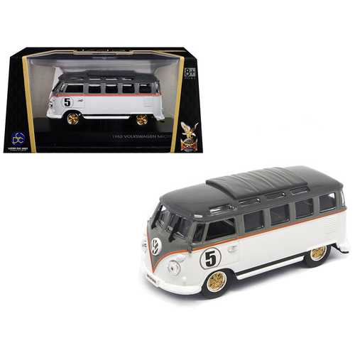 1962 Volkswagen Microbus #5 Van Bus White 1/43 Diecast Model by Road Signature