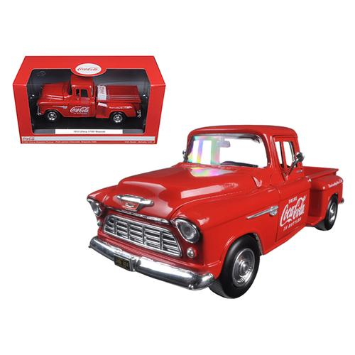 1955 Chevrolet Stepside Pickup Truck Coca Cola with Commercial Cooler 1/24 Diecast Model by Motorcity Classics