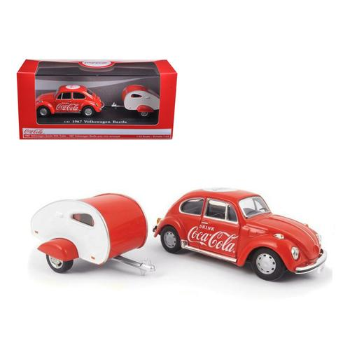 1967 Volkswagen Beetle Coca Cola with Teardrop Trailer 1/43 Diecast Model Car by Motorcity Classics