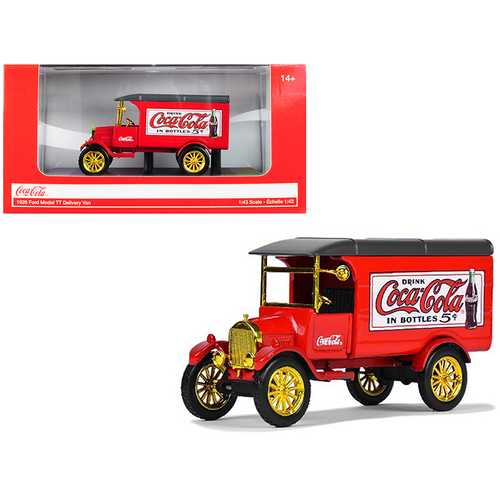 "1926 Ford Model TT Delivery Van ""Coca-Cola"" Red with Gold Wheels 1/43 Diecast Model Car by Motorcity Classics"