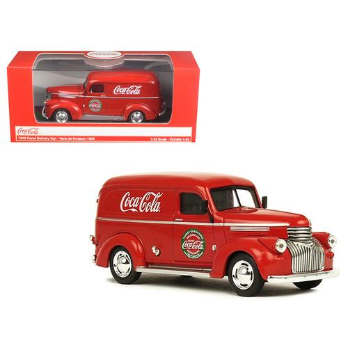 "1945 ""Coca-Cola"" Panel Delivery Van Red 1/43 Diecast Model Car by Motorcity Classics"