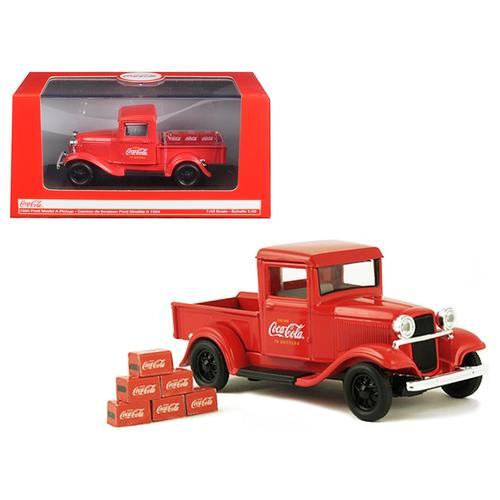 "1934 Ford Model A Pickup Truck Red with 6 Bottle Cartons ""Coca-Cola"" 1/43 Diecast Model Car by Motorcity Classics"