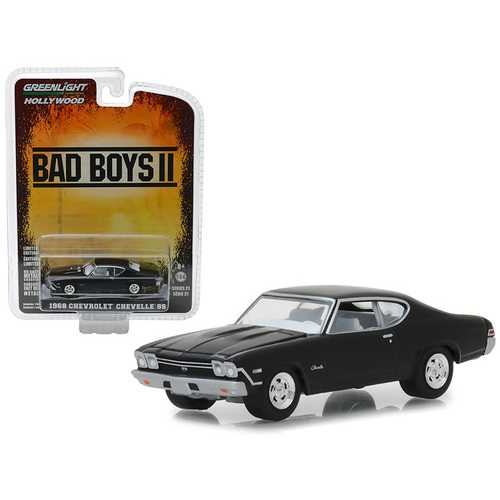 "1968 Chevrolet Chevelle SS Black ""Bad Boys II"" (2003) Movie ""Hollywood"" Series 21 1/64 Diecast Model Car by Greenlight"