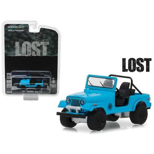 "1977 Jeep CJ-7 ""Dharma"" Blue ""Lost"" (2004-2010) TV Series ""Hollywood"" Series 21 1/64 Diecast Model Car by Greenlight"