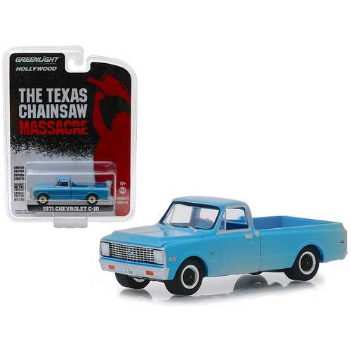 "1971 Chevrolet C-10 Pickup Truck Blue (Dusty) ""The Texas Chainsaw Massacre"" (1974) Movie ""Hollywood"" Series 22 1/64 Diecast Model Car by Greenlight"