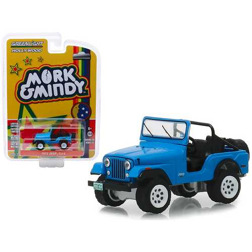 """1972 Jeep CJ-5 Blue """"Mork & Mindy"""" (1978-1982) TV Series """"Hollywood Series"""" Release 23 1/64 Diecast Model Car by Greenlight"""