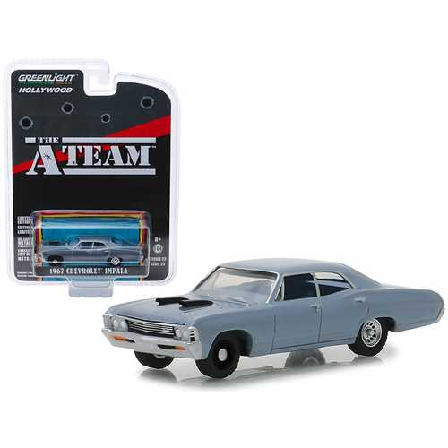 "1967 Chevrolet Impala Silver Blue ""The A-Team"" (1983-1987) TV Series ""Hollywood Series"" Release 23 1/64 Diecast Model Car by Greenlight"