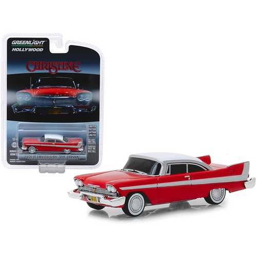 """1958 Plymouth Fury Red with White Top """"Evil Version"""" (Blacked Out Windows) """"Christine"""" (1983) Movie """"Hollywood Series"""" Release 24 1/64 Diecast Model Car by Greenlight"""