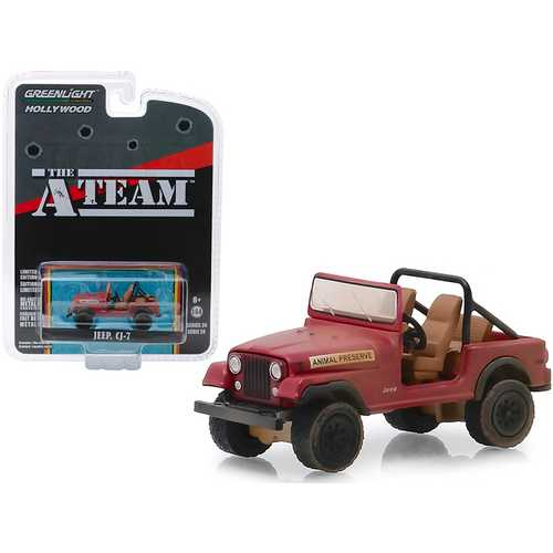 "Jeep CJ-7 Red ""Animal Preserve"" ""The A-Team"" (1983-1987) TV Series ""Hollywood Series"" Release 24 1/64 Diecast Model Car by Greenlight"
